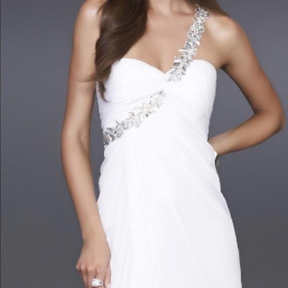 La Femme White Prom Dress